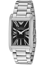 Emporio Armani Ladies Rectangle Silver Black Dial Watch AR2054