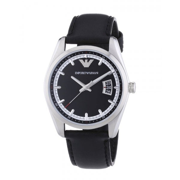 Emporio Armani Mens Sportivo Black Leather Watch AR6014