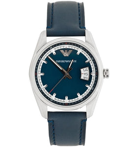 Emporio Armani Mens Sportivo Blue Leather Watch AR6017