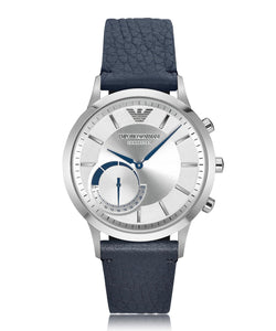 EMPORIO ARMANI Connected Stainless Steel Hybrid Men's Smartwatch w/Blue Leather Strap