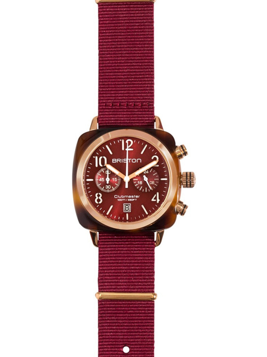 Briston Clubmaster Classic Acetate - Chronograph Tortoise Shell British Red