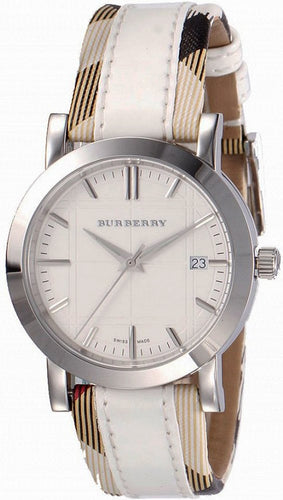 Burberry BU1379 Nova Check White Leather Strap Ladies Watch