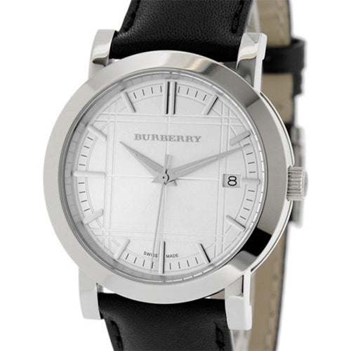 Burberry Heritage Silver Dial Stainless Steel Black Leather Men's Watch BU1382