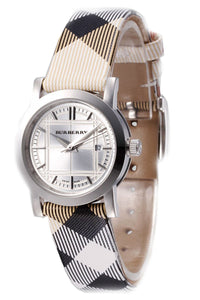 Burberry Women's Nova Check Checked Strap White Dial Watch BU1387