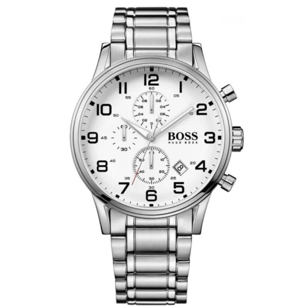 Hugo Boss Men's Aeroliner Silver/White Chronograph Watch HB1513182