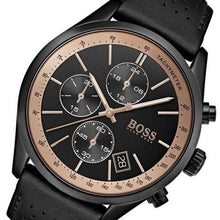Hugo Boss Men's Leather Grand Prix Black Chronograph Watch HB1513550