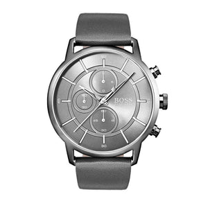 Hugo Boss Men's Architectural Grey Leather Watch HB1513570