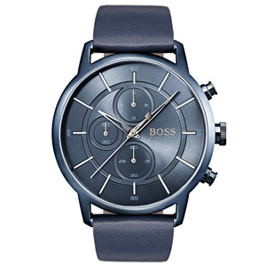 Hugo Boss Men's Architectural Blue Leather Watch HB1513575