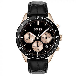Hugo Boss Men's Talent Black Leather Chronograph Watch HB1513580
