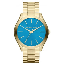 Michael Kors Ladies Slim Runway Blue Gold Watch MK3265