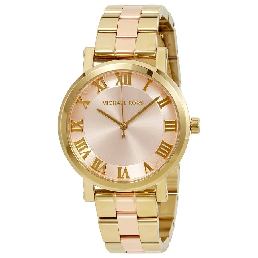 Ladies Michael Kors Norie Rose Gold & Gold Watch MK3586