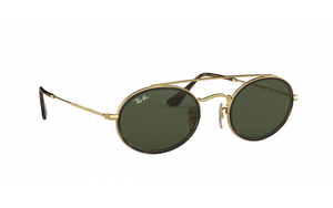 Brand New Ray-Ban Oval Double Bridge Green Sunglasses - RB3847N 912131 - Unisex