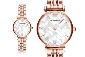 Emporio Armani Ladies Mother of Pearl Rose Gold Watch - AR11110