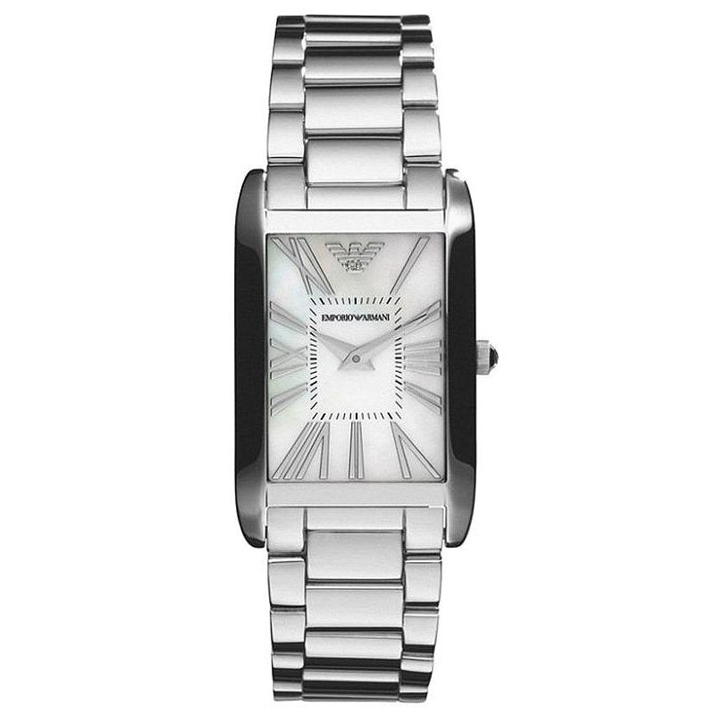 Emporio Armani Ladies Rectangle Silver Slim Watch AR2037