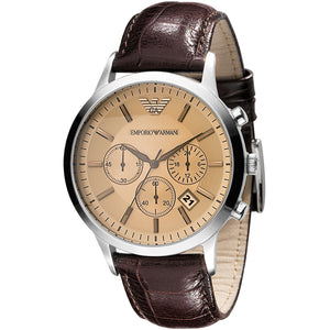 Emporio Armani Mens Chronograph Brown Leather Watch AR2433