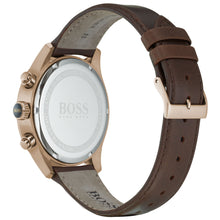 Hugo Boss Men's Blue Face Brown Leather Grand Prix Watch HB1513604
