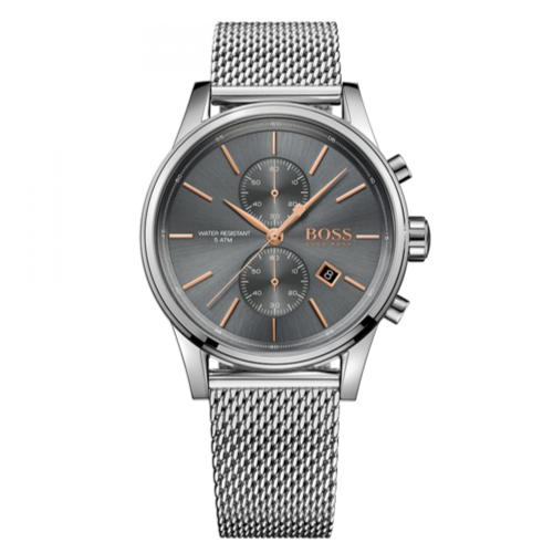Hugo Boss Jet Men's Watch Grey Analogue Quartz Stainless Steel Silver