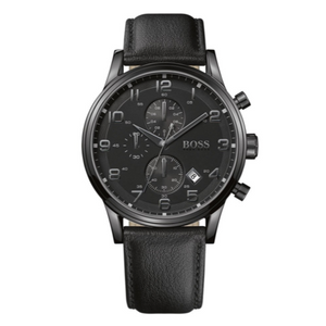 Mens Hugo Boss Aeroliner Chronograph Watch Black Leather Strap