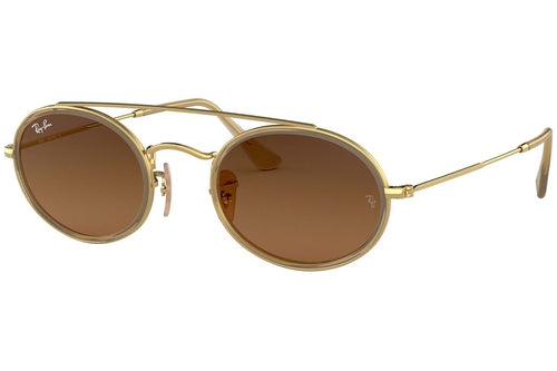 Brand New Ray-Ban Oval Double Bridge Brown Sunglasses - RB3847N 912443 - Unisex