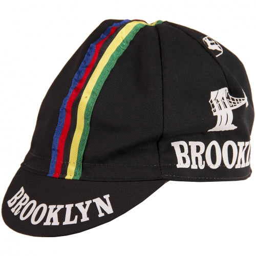 BROOKLYN CYCLING CAP - BLACK w/Stripes