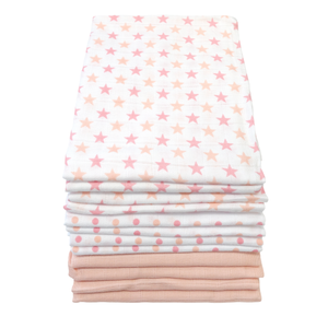 MuslinZ 12 Pack Muslin Squares and Stars 70x70cm, Baby Pink