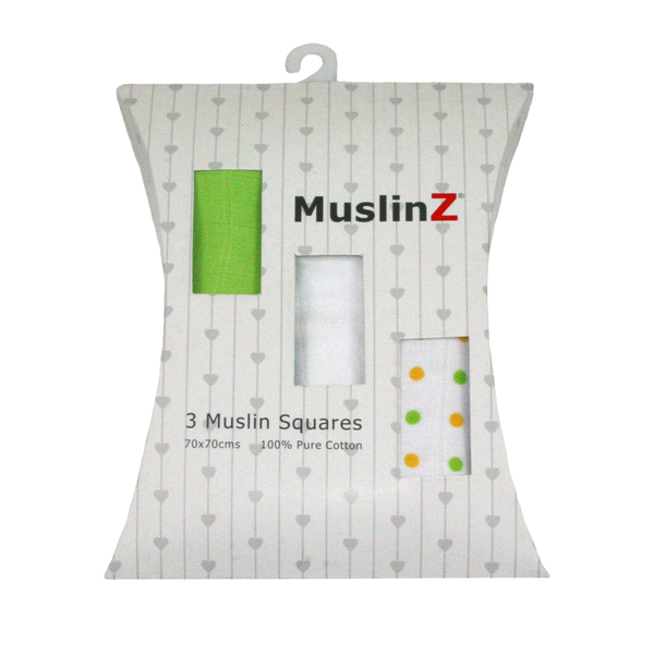 MuslinZ 3 Pack Muslin Squares 70x70cm, Gift Boxed, Many Colours