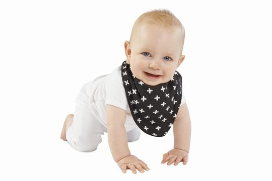 Baby wearing Black Plus Print Baby Bandana Bib