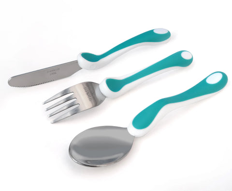 Baby&More Toddler Training Cutlery 3pc set with Clever Grip - Assorted Colours
