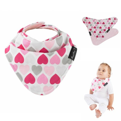 Bib Reversible Patterned Hearts Pink