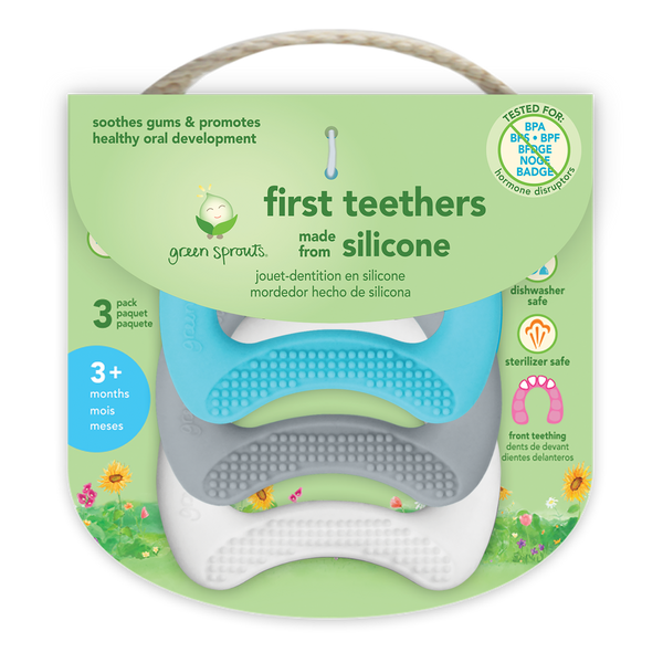 First Teether - Three Pack - White, Grey and Aqua / Pink