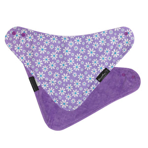 Mum 2 Mum Bandana Style Wonder Bib - Purple Daisies / Purple