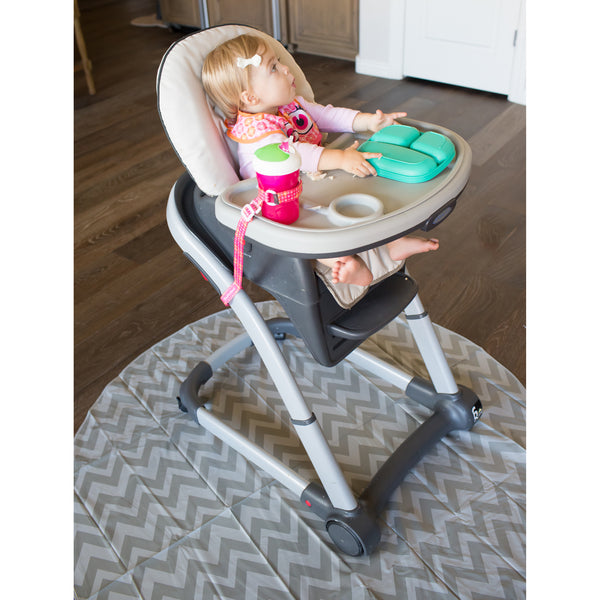 Splatmat High chair messy mat chevron insitu