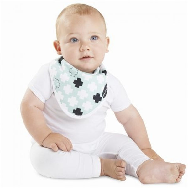 Bamboo Wonder Bib Mint Green Plus Crosses Flat Insitu