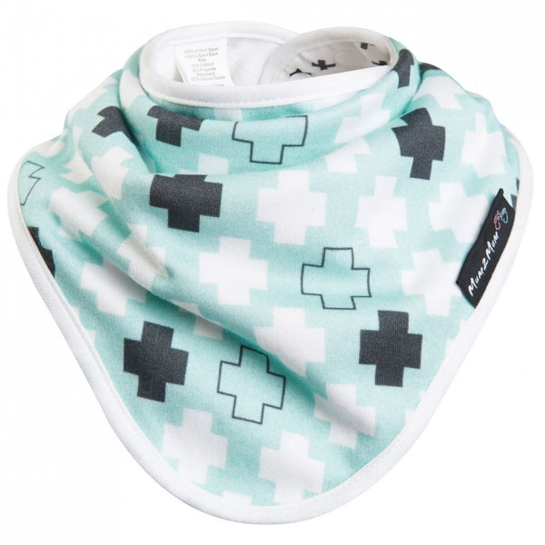 Bamboo Wonder Bib Mint Green Plus Crosses Flat Worn