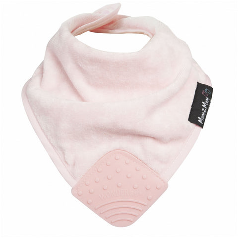 Teething Wonderbib Silicone Baby Pink Worn