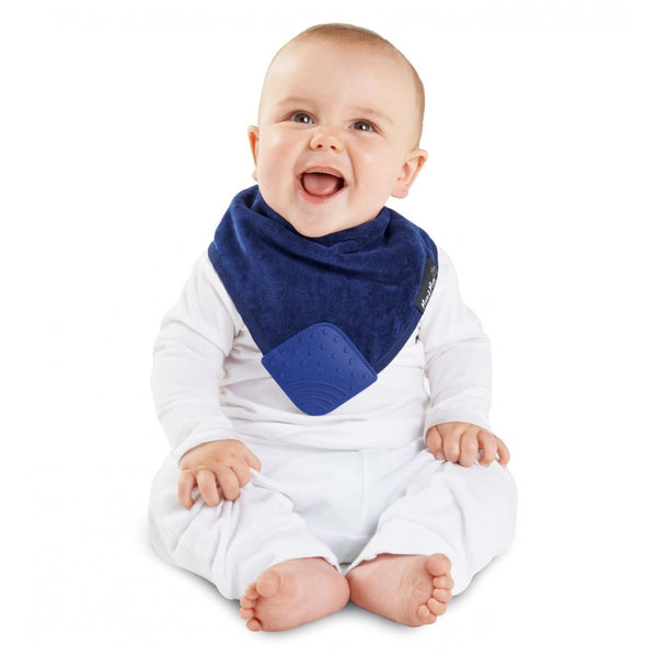 SQUARE Teething bandana bib Navy Blue insitu