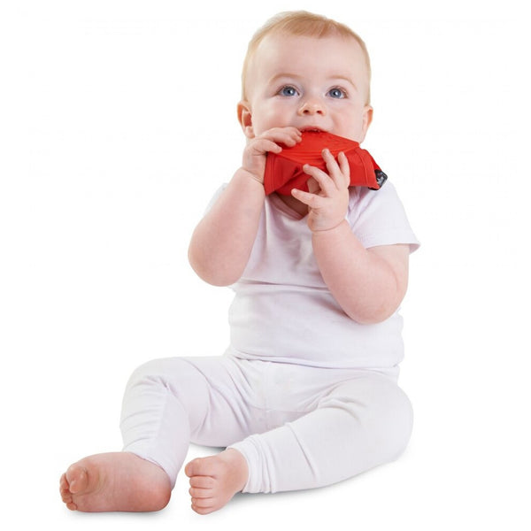 SQUARE Teething bandana bib Red insitu