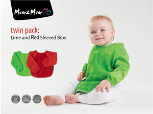 2 x Mum 2 Mum Long Sleeved Wonder Bibs Weaning in Lime / Red