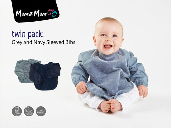 2 x Mum 2 Mum Long Sleeved Wonder Bibs Weaning in Grey / Navy