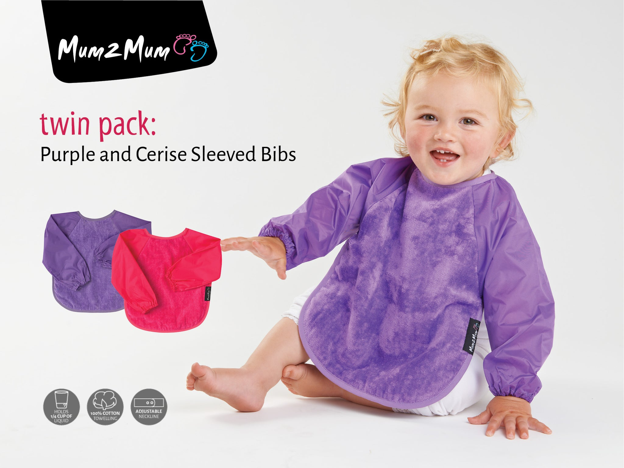 Sleeved Wonderbib Purple & Cerise Pink Multipack