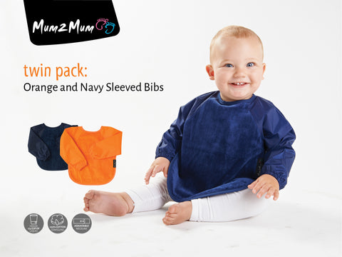 Sleeved Wonderbib Orange & Navy Blue Multipack
