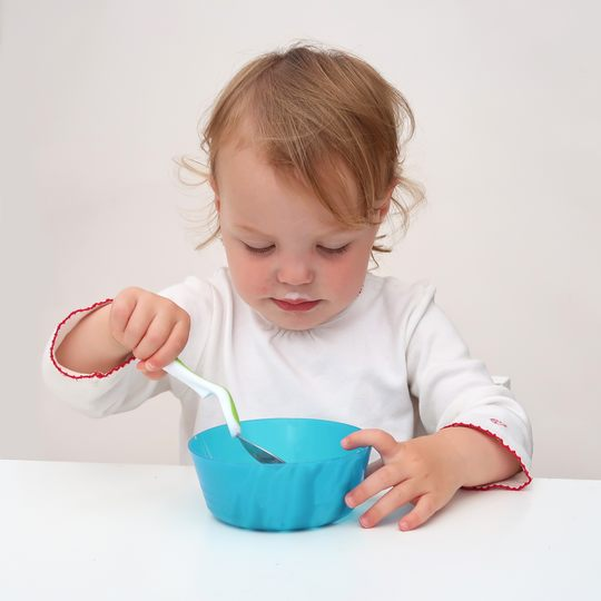 Baby&More Toddler Training Cutlery 3pc set with Clever Grip - Teal/White