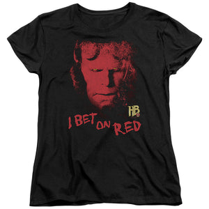 Hellboy I Bet On Red Short Sleeve Women's T-Shirt Fans Movie Tees Black