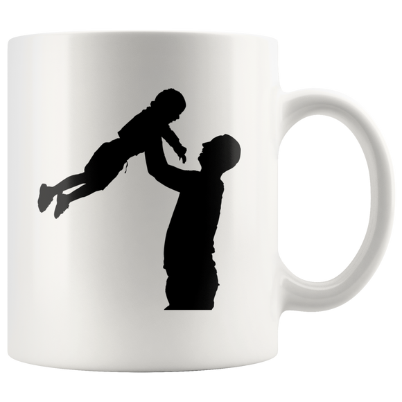 Daddy And Me Silhouettes White Ceramic Mug 11oz Double Sided Print Father Son