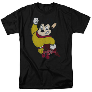 Mighty Mouse Classic Hero Short Sleeve T-Shirt Adult Unisex Black