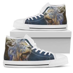 Men's Blue Lion Custom Printed Canvas High Top Sneakers Boys Men Footwear