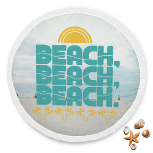 The Beach Life Large Custom Round Towel Blanket