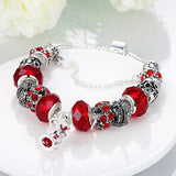 Swarovski Elements Royal Crown Jewel Bracelet Pandora Inspired Women Red