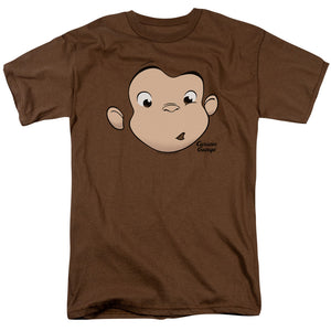Curious George Face Short Sleeve T-Shirt Adult Unisex Monkey Brown