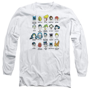 DC Comics Superheroes Issues Long Sleeve T-Shirt Adult Unisex White